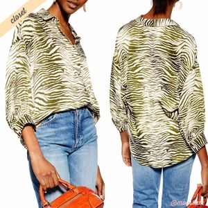 [Topshop] Green Zebra Print Button Front Shirt
